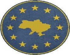 European Union Ukraine button isolated on white background.
